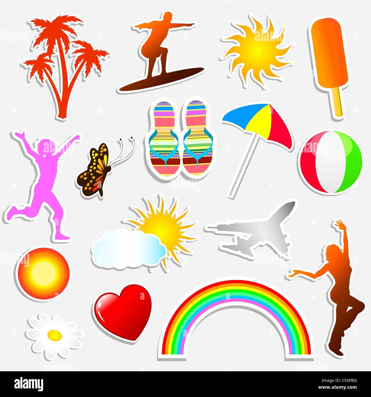 Various different summer themed stickers - Stock Image