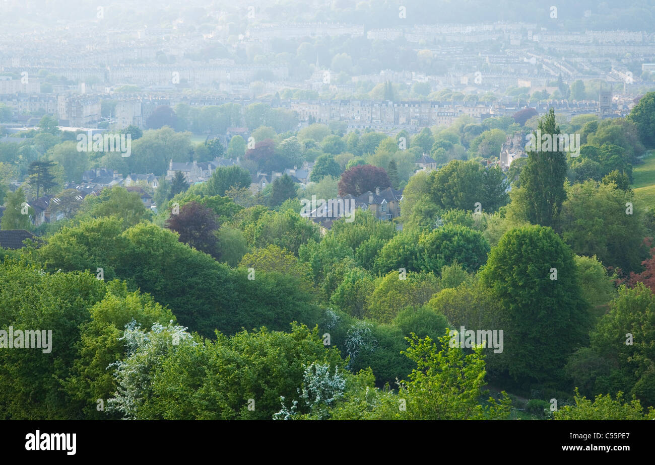 View of Bath from Bath Skyline Walk at Widcombe Hill. Bath. Somerset. England. UK. - Stock Image