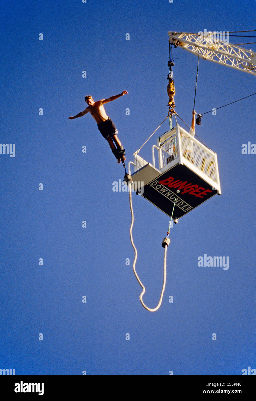 Bungee jumper at Bungee Downunder in Surfers Paradise on the Queensland Gold Coast - Stock Image