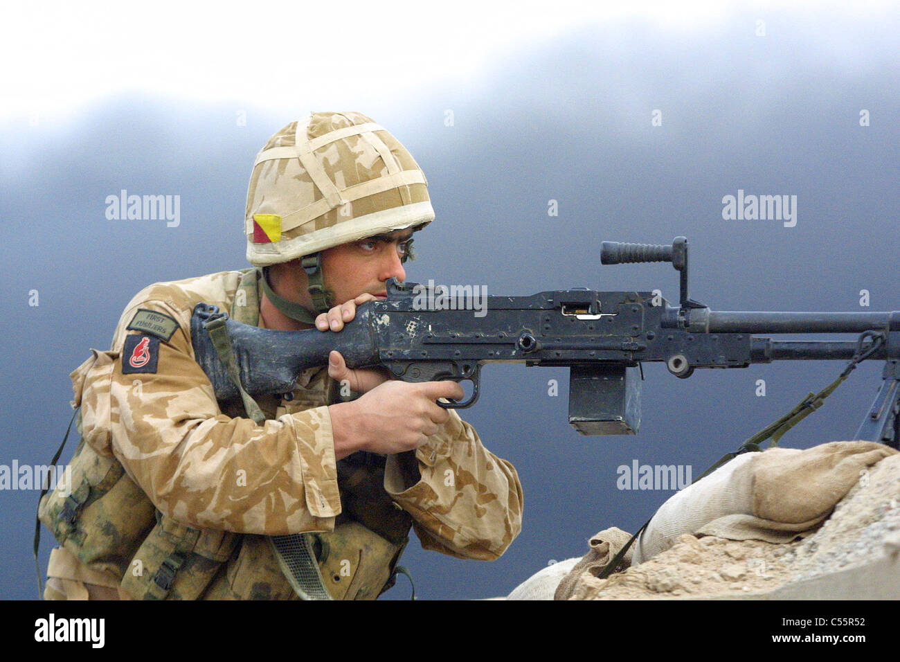 A British Army sniper on the lookout - Stock Image