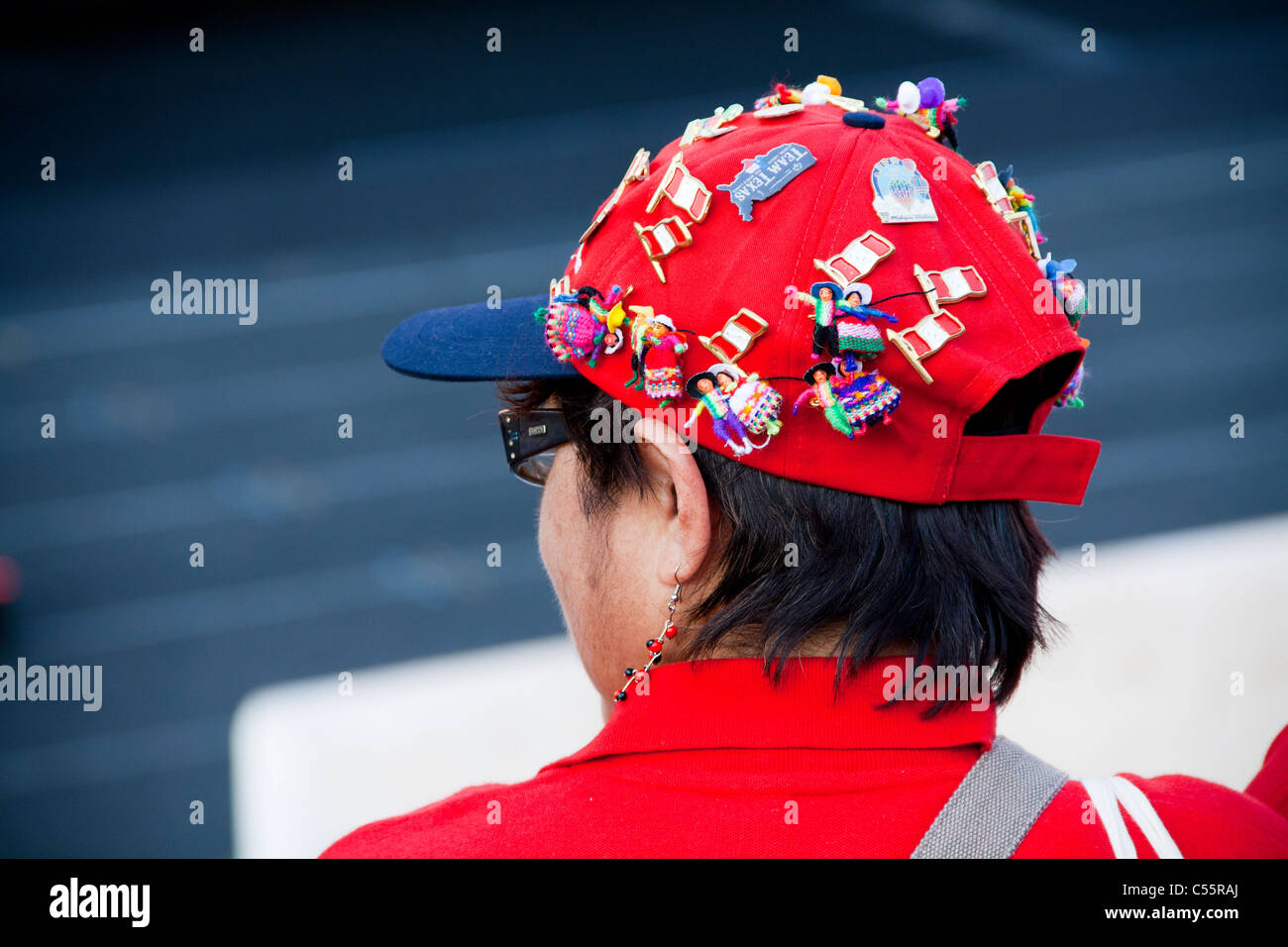 Athens 2011 Special Olympics Opening Ceremony - Peruvian woman with decorated hat - Stock Image