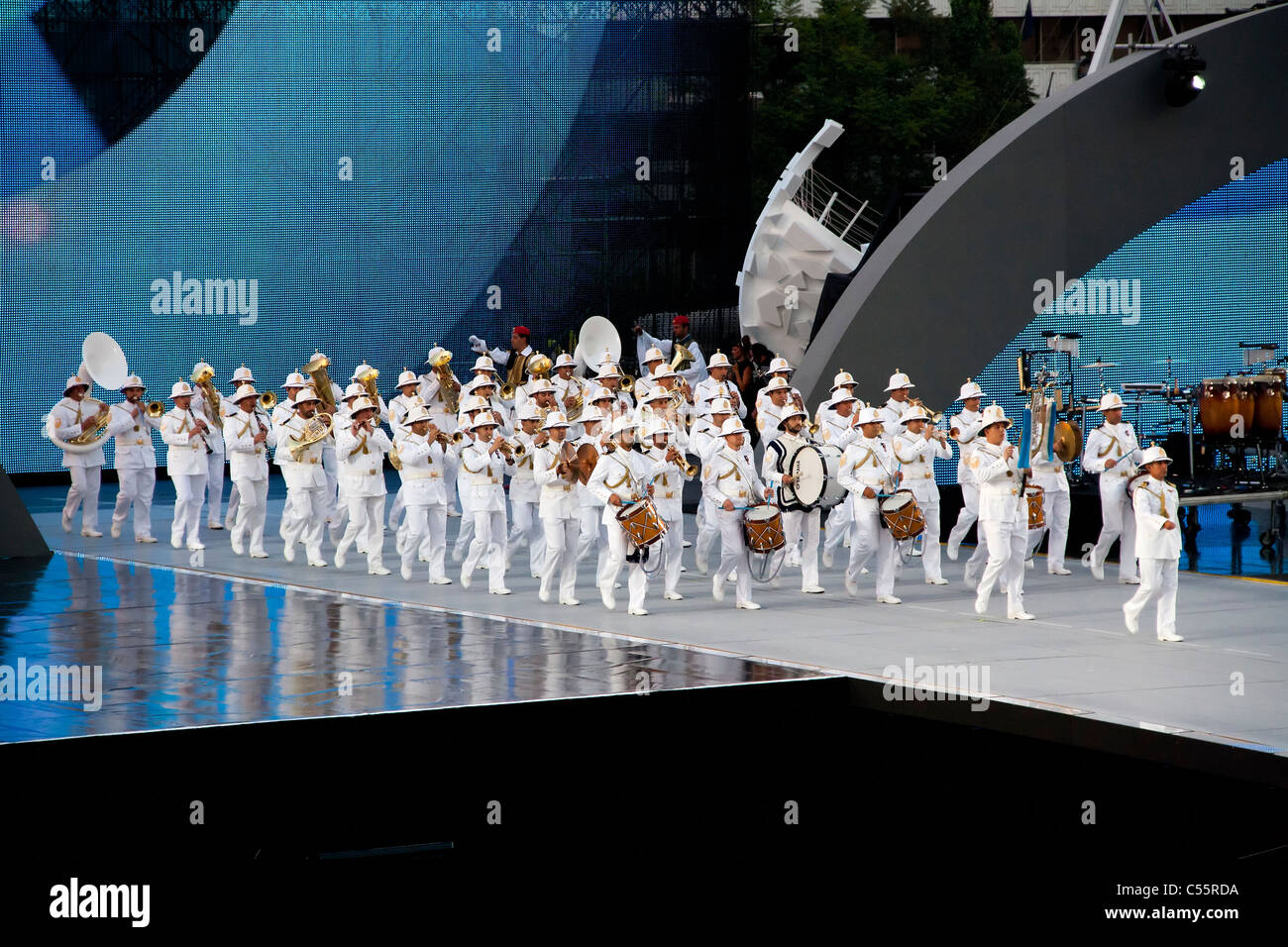 Athens 2011 Special Olympics Opening Ceremony - Navy's band entering stadium while playing - Stock Image