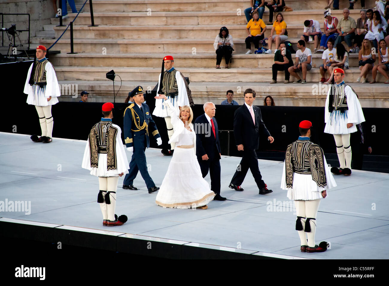 Athens 2011 Special Olympics Opening Ceremony - Despotopoulou, Papoulias and Shriver entering stadium - Stock Image
