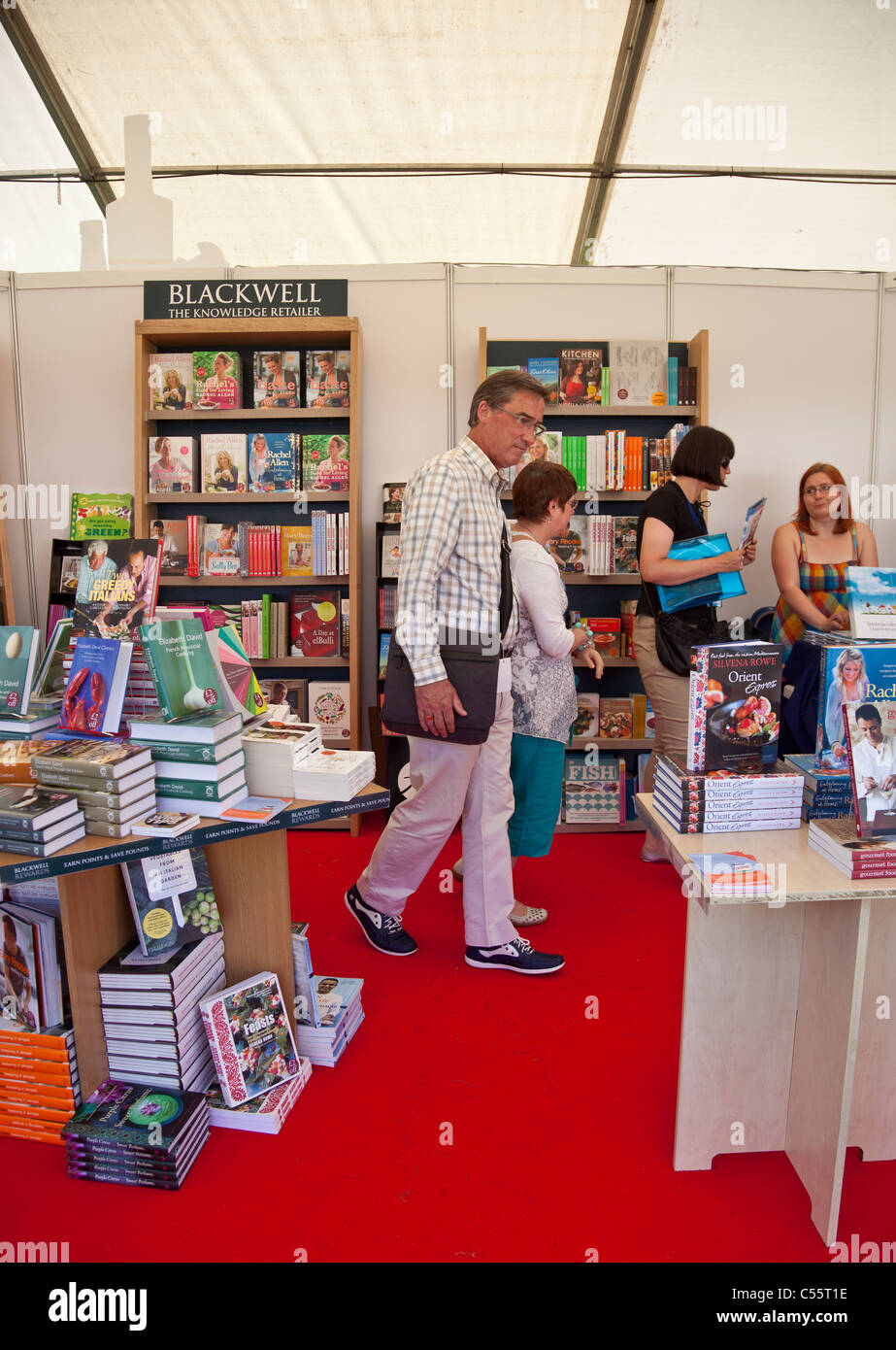 Blackwell Booksellers tent selling cookery books at the Taste of Edinburgh 2011 event at The Meadows - Stock Image