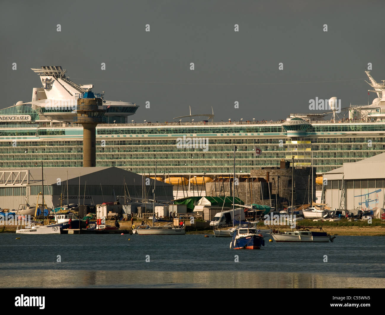 Cruise ship Independence of the Seas passing Calshot Spit after leaving Southampton Hampshire England UK - Stock Image