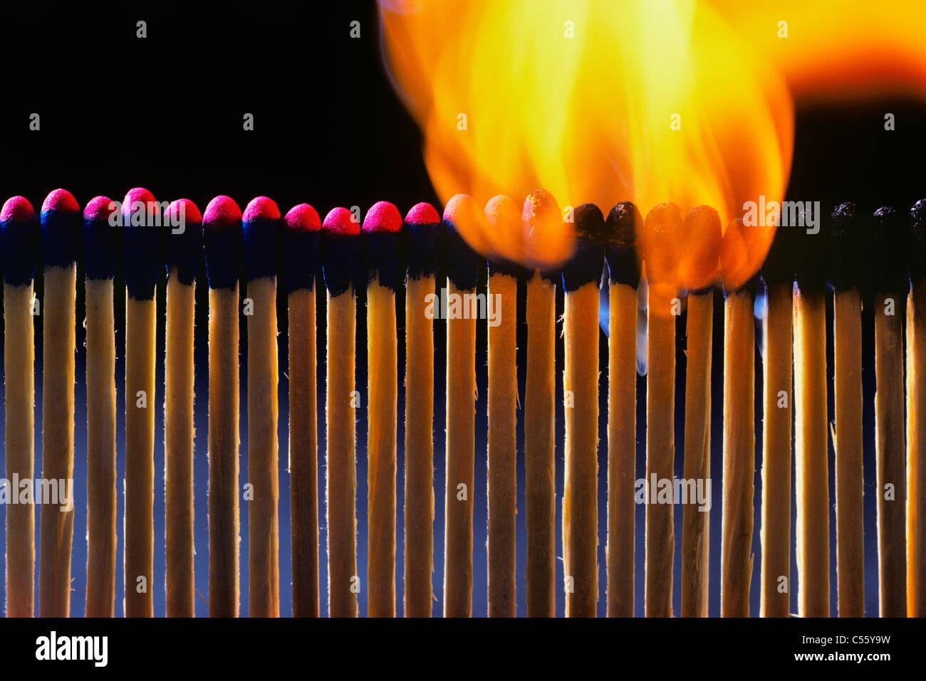 Burning matchsticks - Stock Image