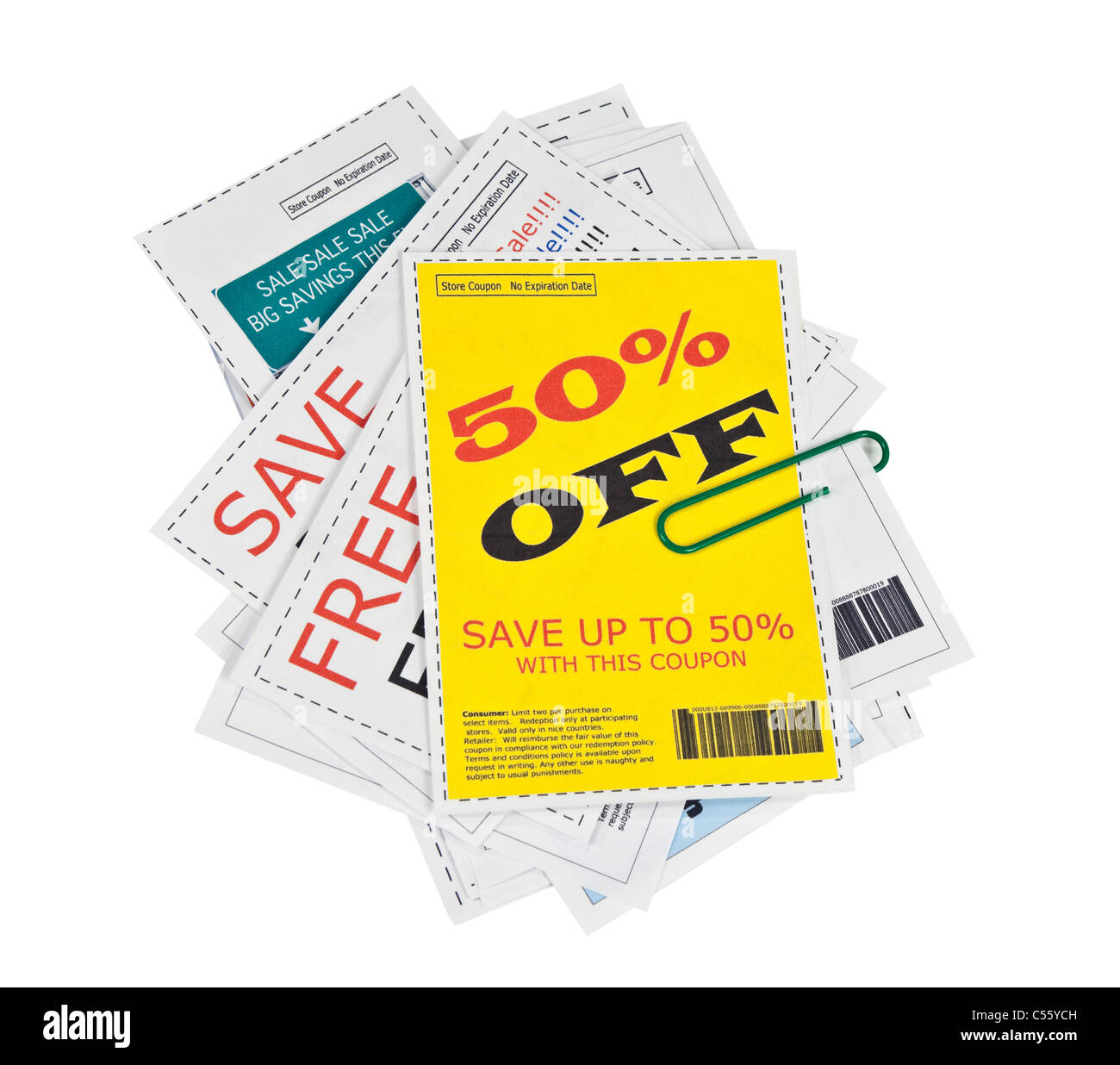 Completely fake store coupons.  No actual ads were used. - Stock Image