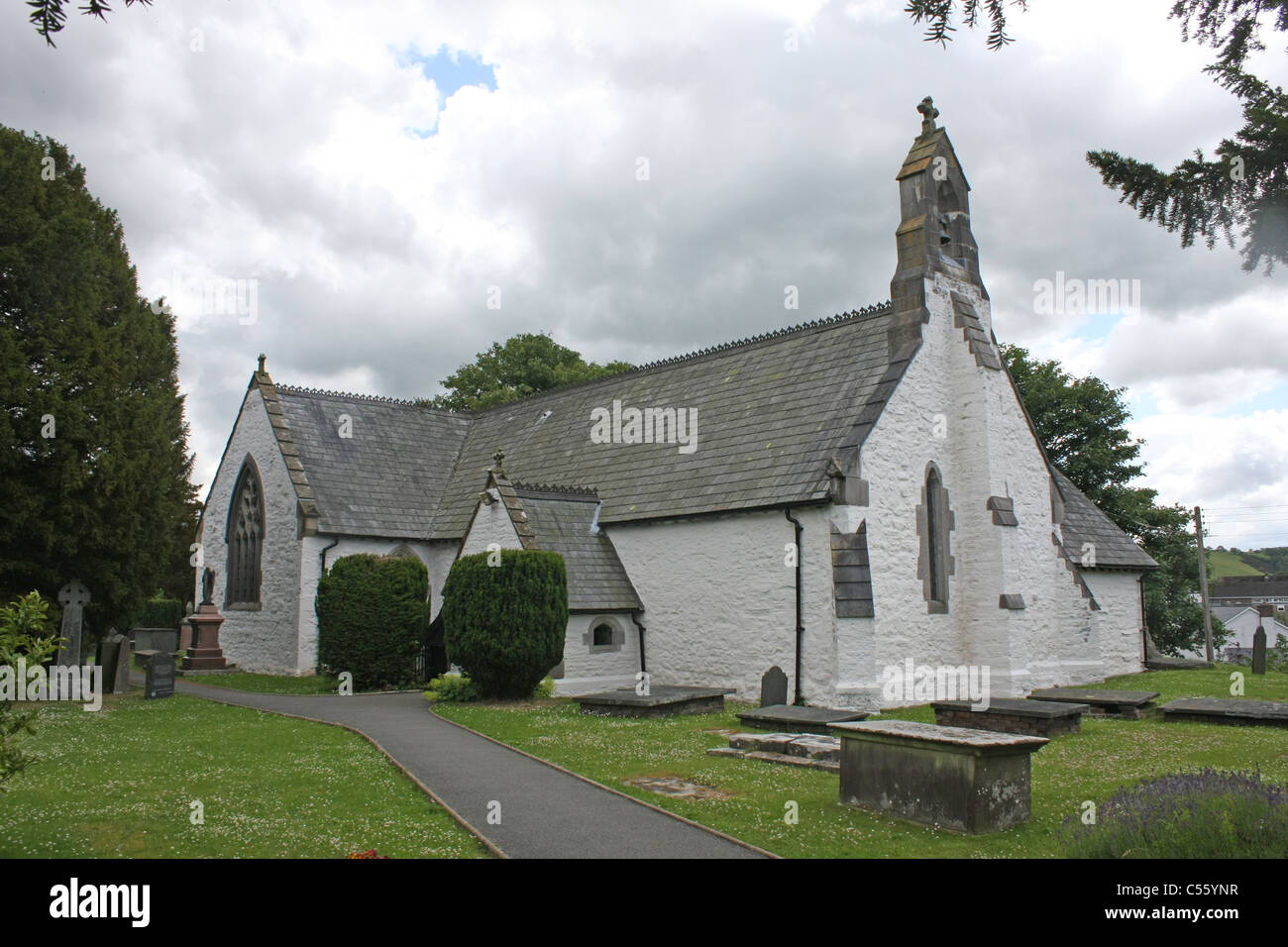 St Digain's Church has an ancient yew in its grounds - Stock Image