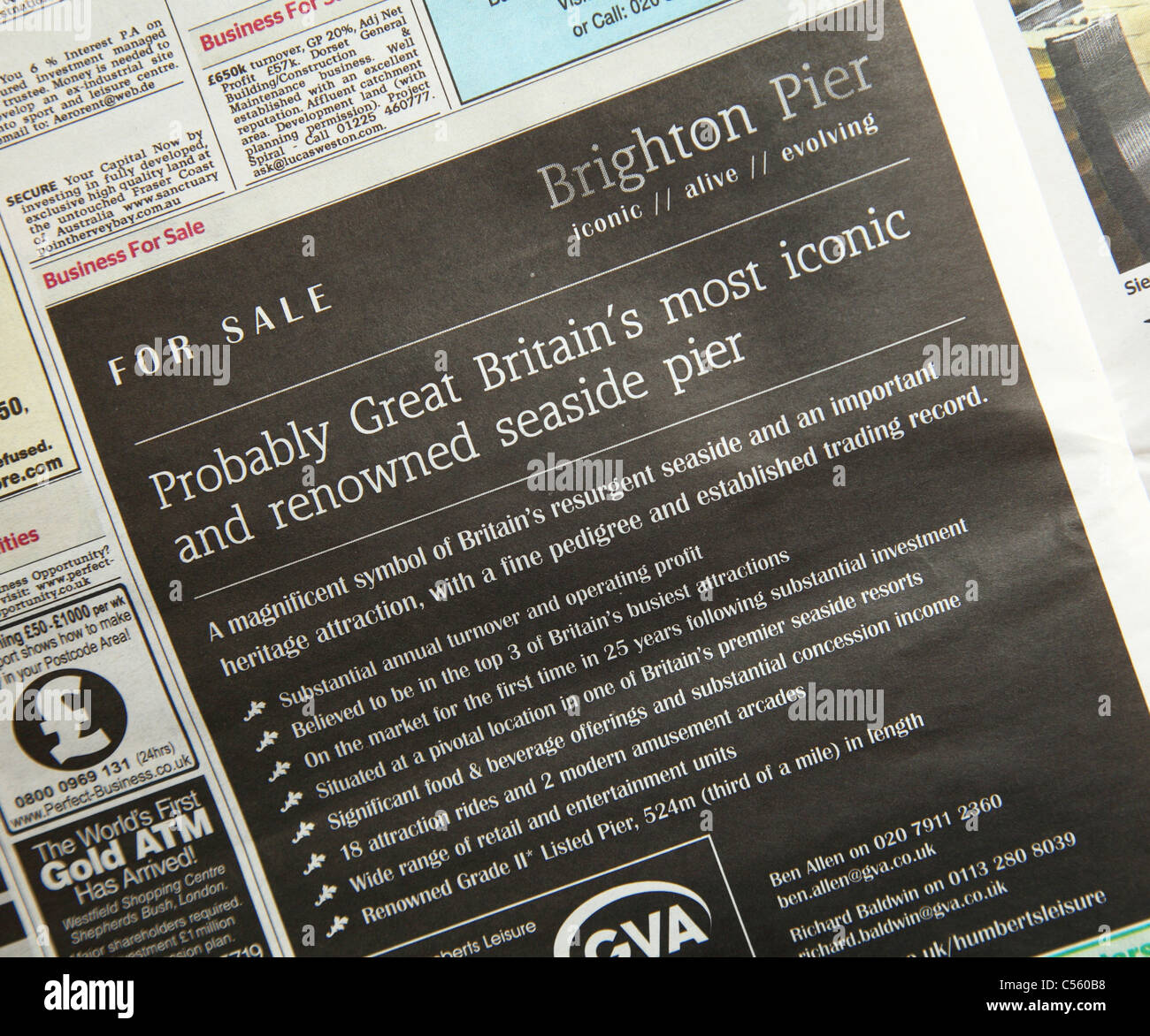 Brighton Pier advertised for sale in The Times newspaper. - Stock Image