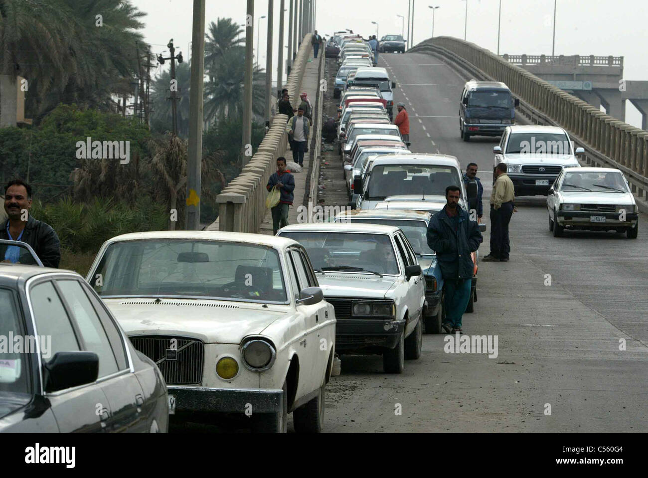 Long line of cars in queue for fuel, Iraq, Middle East Stock Photo ...