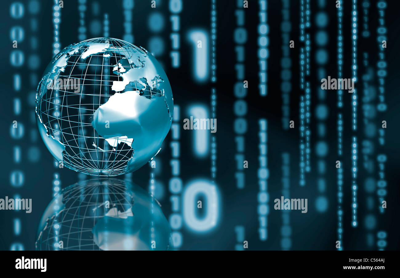 Abstract Blue World Map Binary Stock Photos Wireframe Globe On Circuit Board And Code Background Image