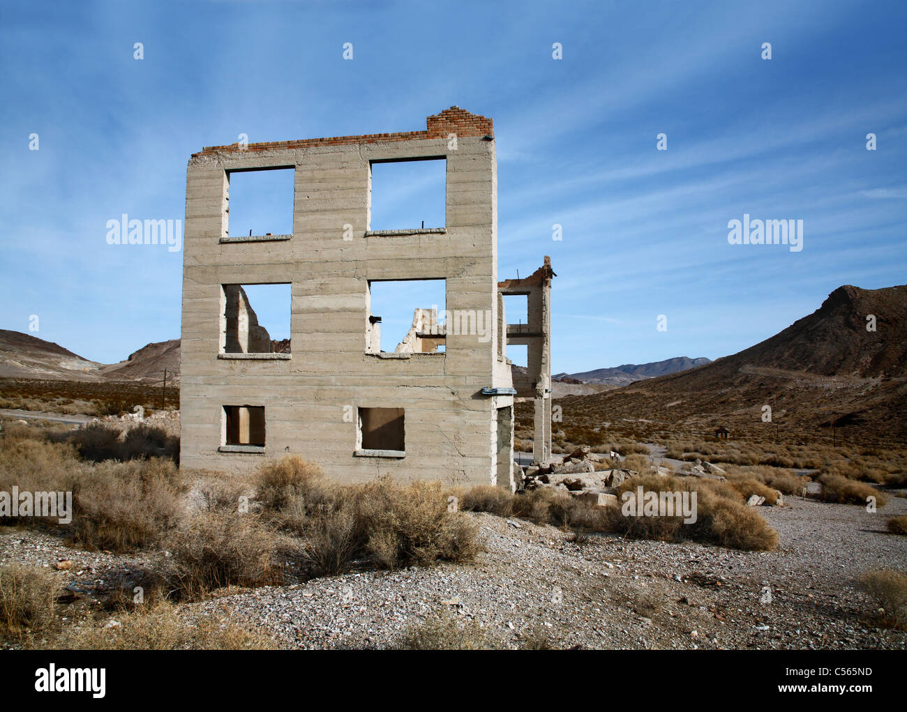 Standing In Mute Testimonial To A Bygone Era, Rhyolite Nevada, An Abandoned Town Near Death Valley, USA - Stock Image