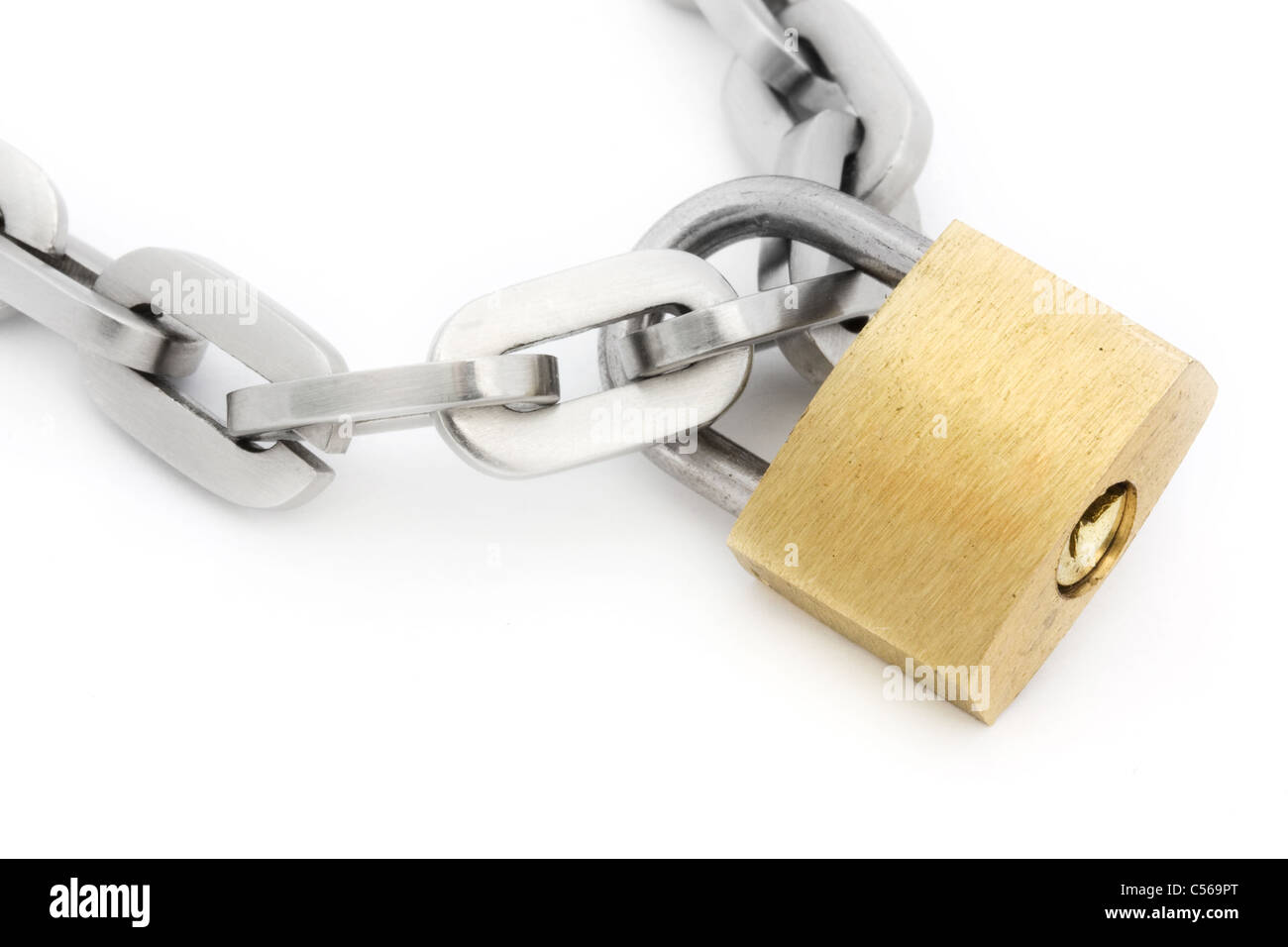 Padlock and chain isolated on white - Stock Image