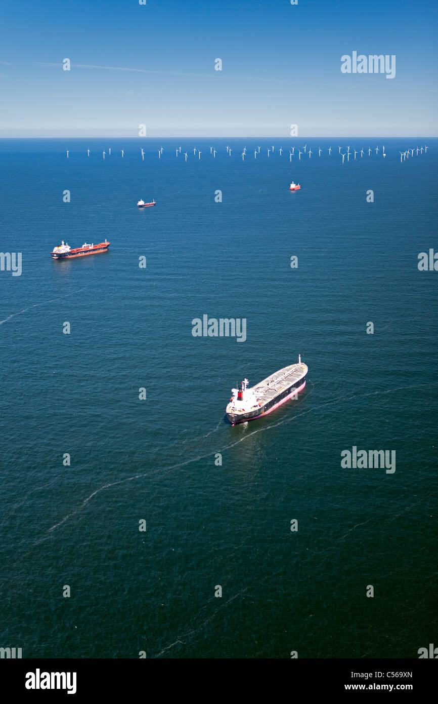 The Netherlands, Aerial view of wind turbines park called Offshore Windpark Egmond aan Zee or Princess Amalia Stock Photo