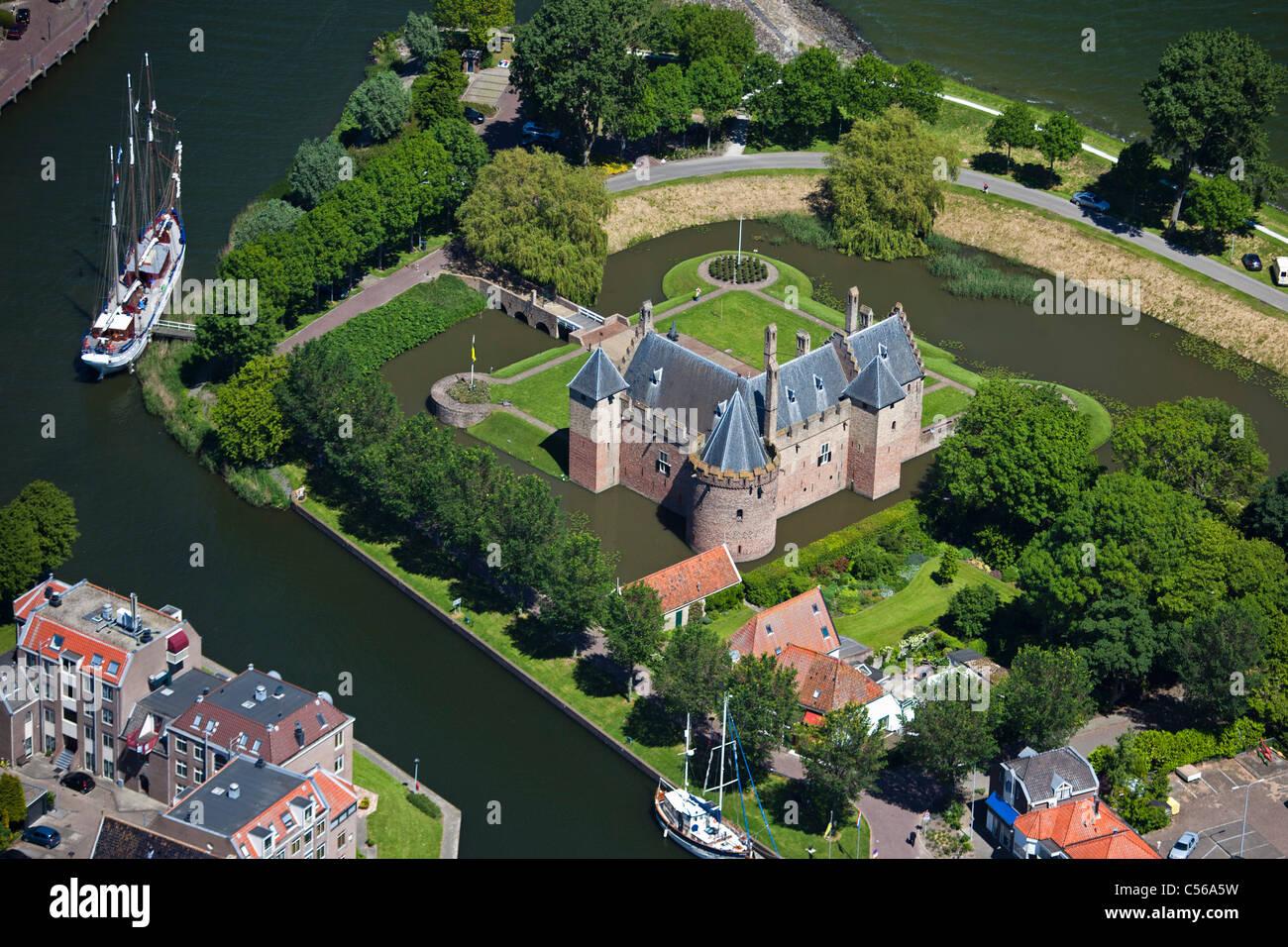 The Netherlands, Medemblik, Castle called Radboud. Aerial. - Stock Image