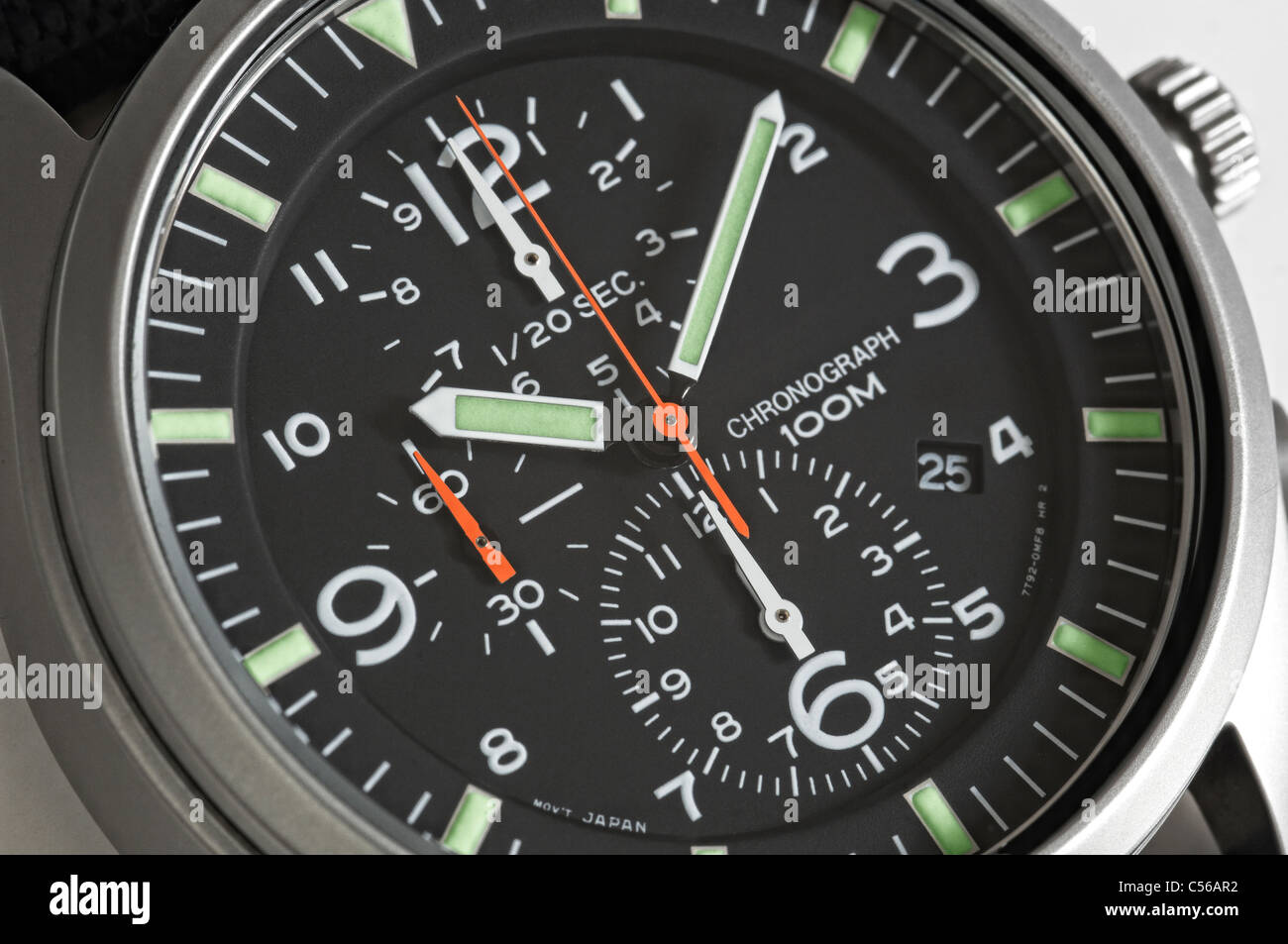 Close up of a Men's chronograph wrist watch - Stock Image