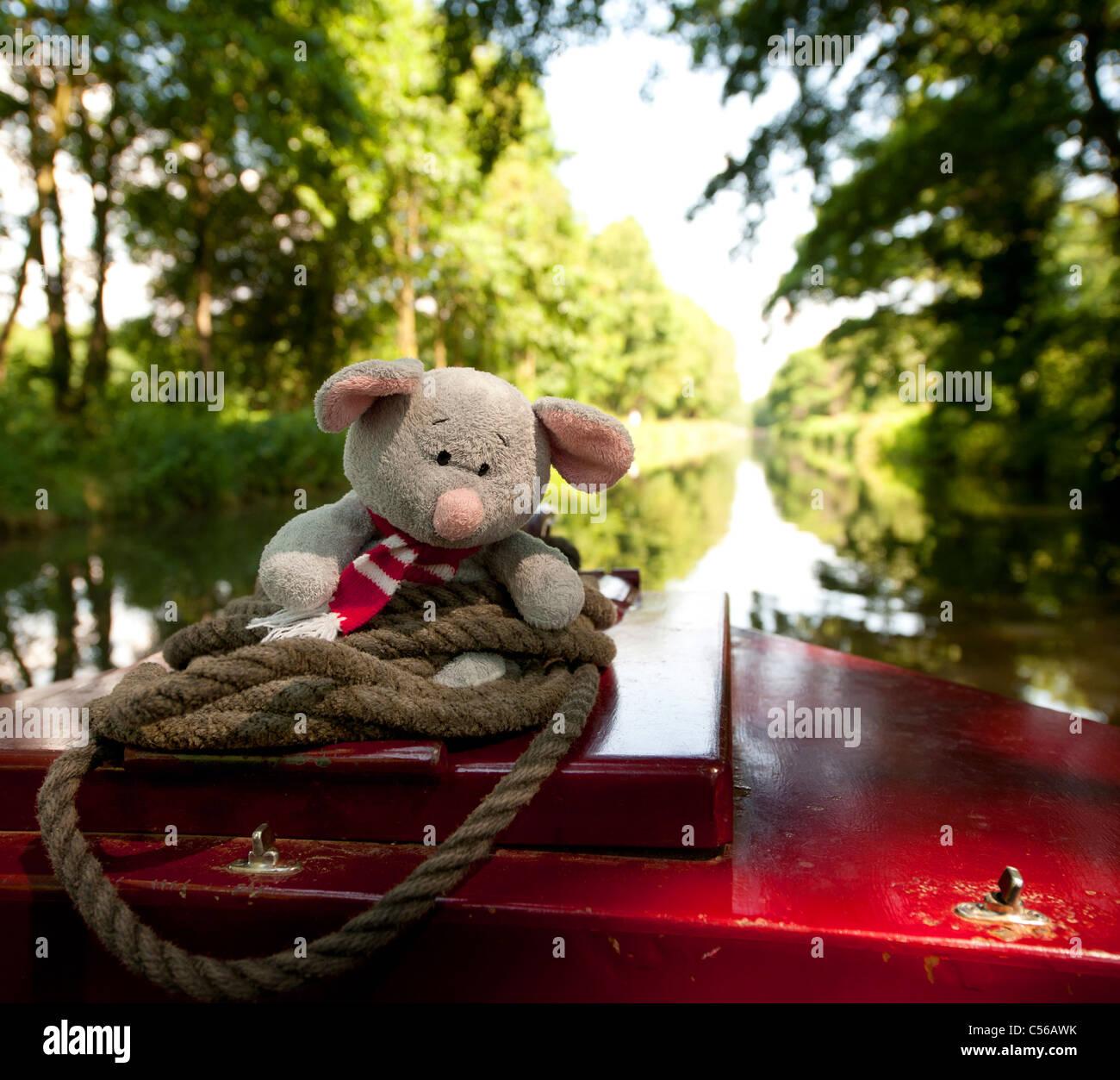 People having fun on the River Wey Navigations near Godalming Surrey, UK - Stock Image