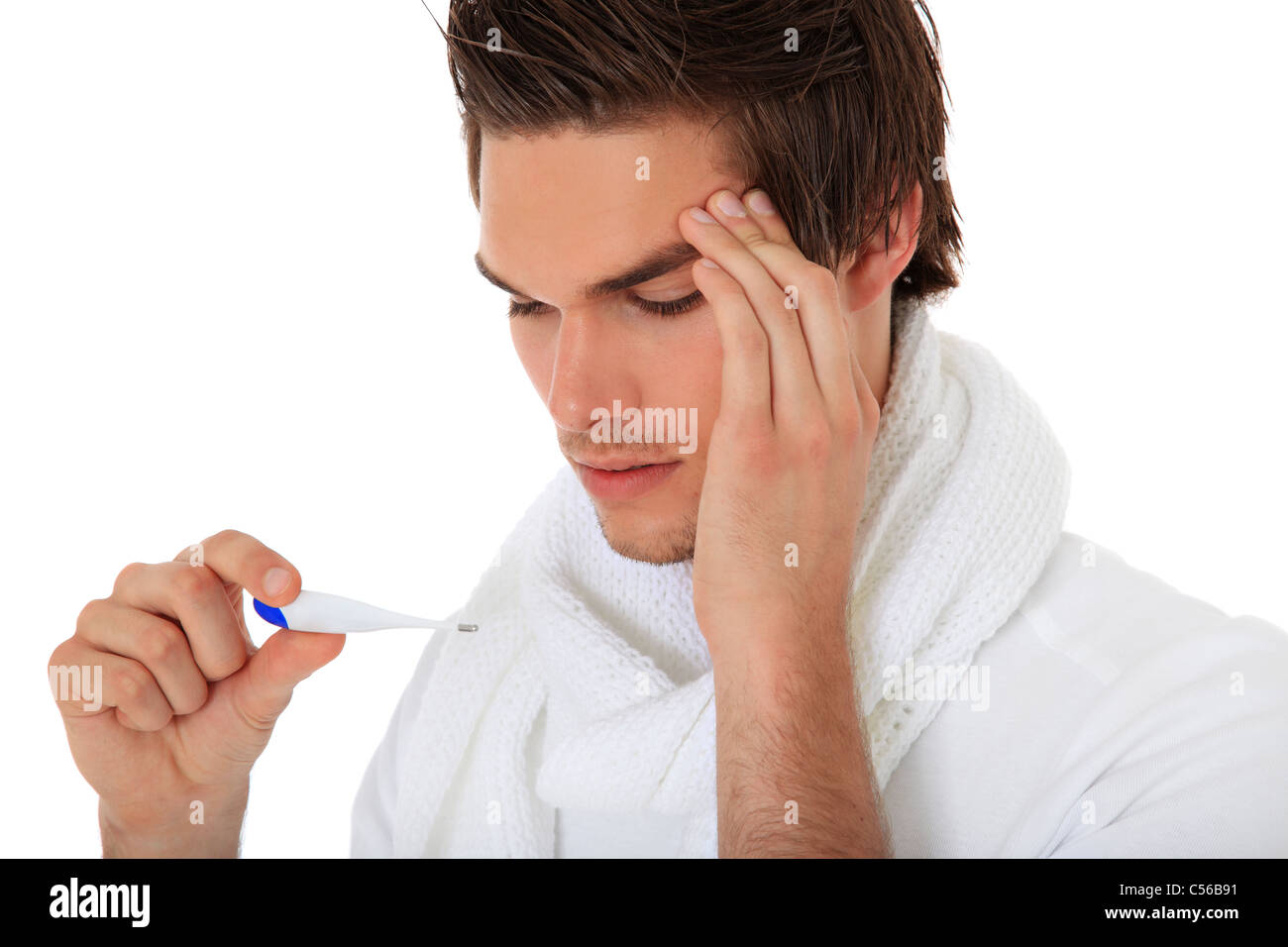 Attractive young man feels unwell. All on white background. - Stock Image