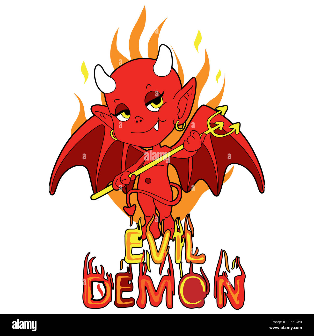Red evil demon boy holding trident over infernal flames smiling mischievously - Stock Image