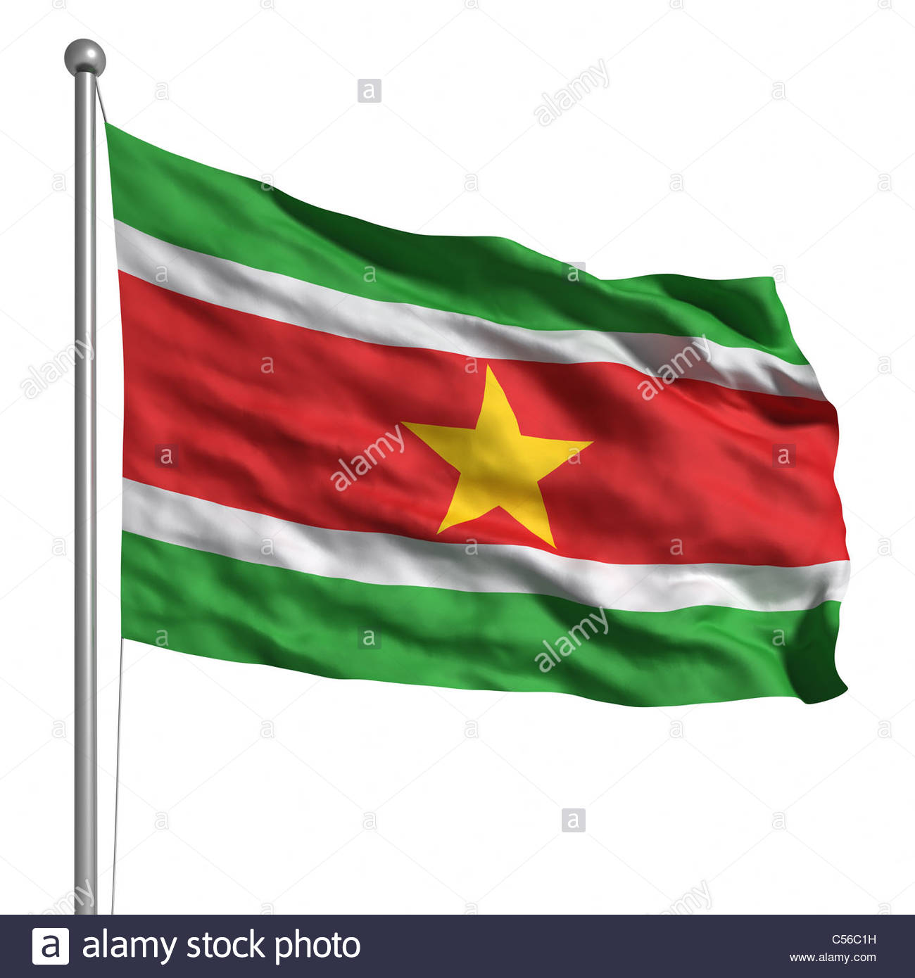 Flag of Suriname. Rendered with fabric texture (visible at 100%). Clipping path included. - Stock Image