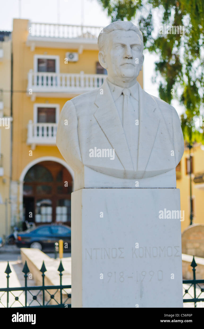 Bust of scholar Dino Konomi, Zakynthos town. - Stock Image