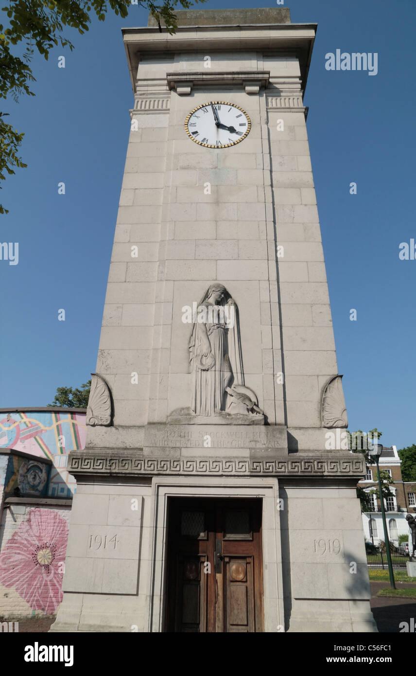 The Stockwell Great War Memorial in Stockwell Memorial Gardens, Stockwell, London, UK. - Stock Image