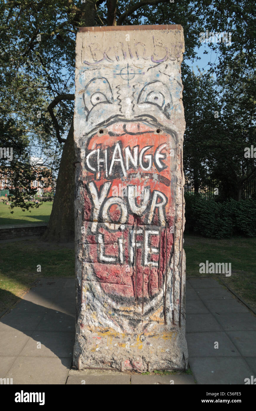 A section of the Berlin Wall on display outside the Imperial War Museum, London, UK. Stock Photo