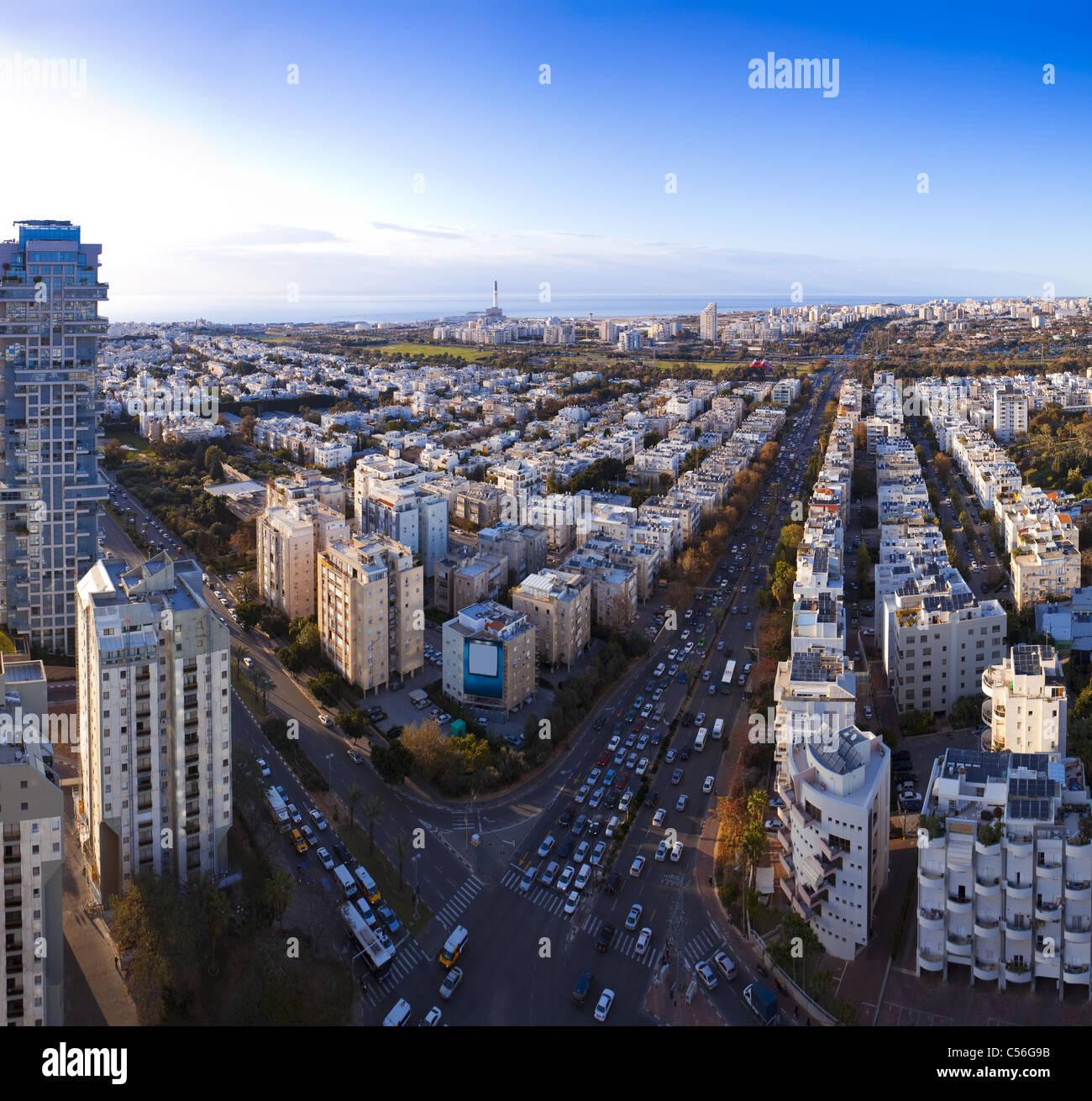 Tel Aviv skyline at sunset / Aerial view of Tel Aviv Stock Photo