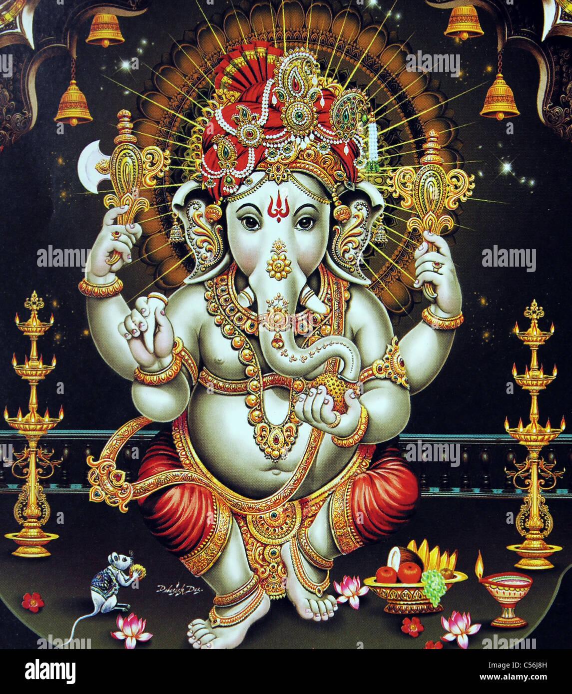 god ganapathi images  Painting of hindu god Ganesha or Ganapathy Stock Photo: 37640081 - Alamy
