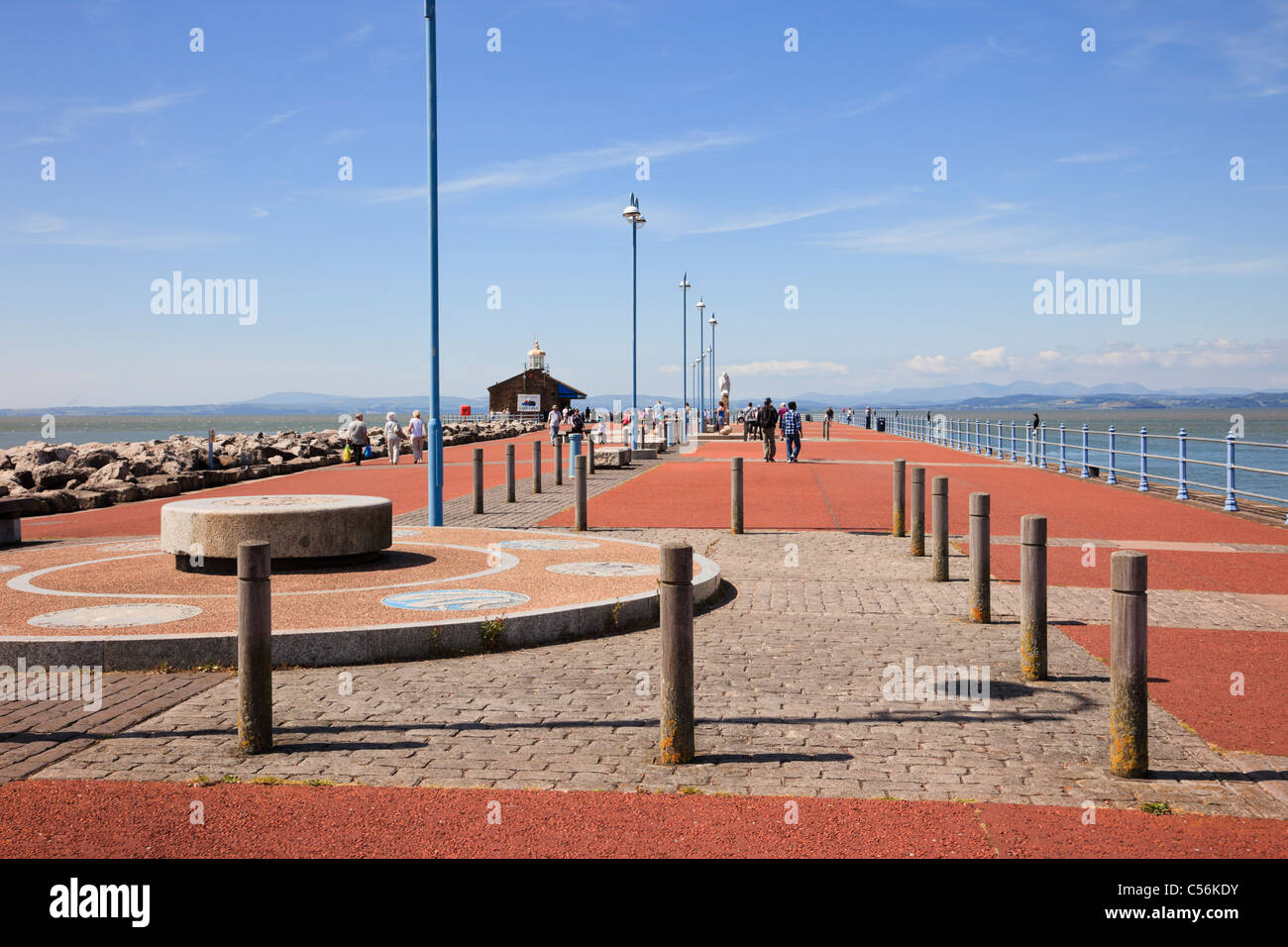 Tern Project Tongue Twisters feature and view along the stone jetty to the bay in Morecambe, Lancashire, England, - Stock Image