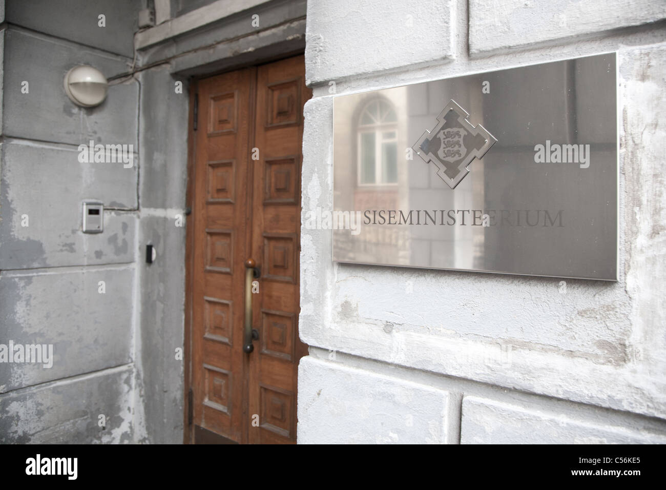 Entrance to the Interior Ministry in Tallinn Estonia which former housed the KGB headquarter. Stock Photo