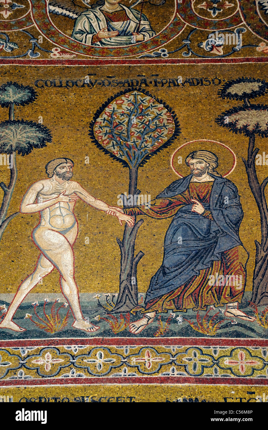 A mosaic depicting God placing Adam in the Garden of Eden - Stock Image