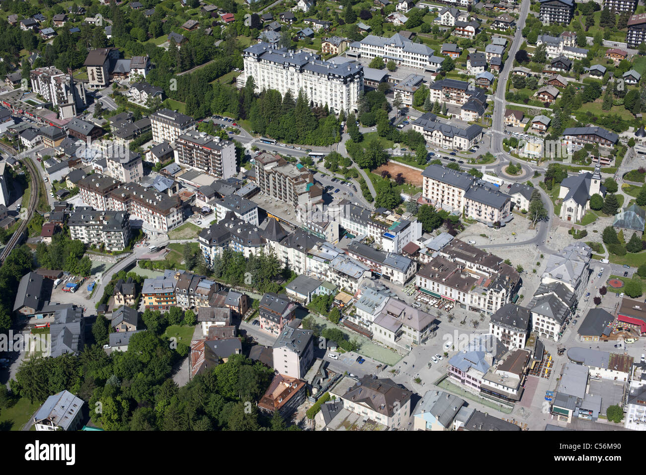 CHAMONIX MONT-BLANC (aerial view). The city center. Haute-Savoie, Rhône-Alpes, France. - Stock Image