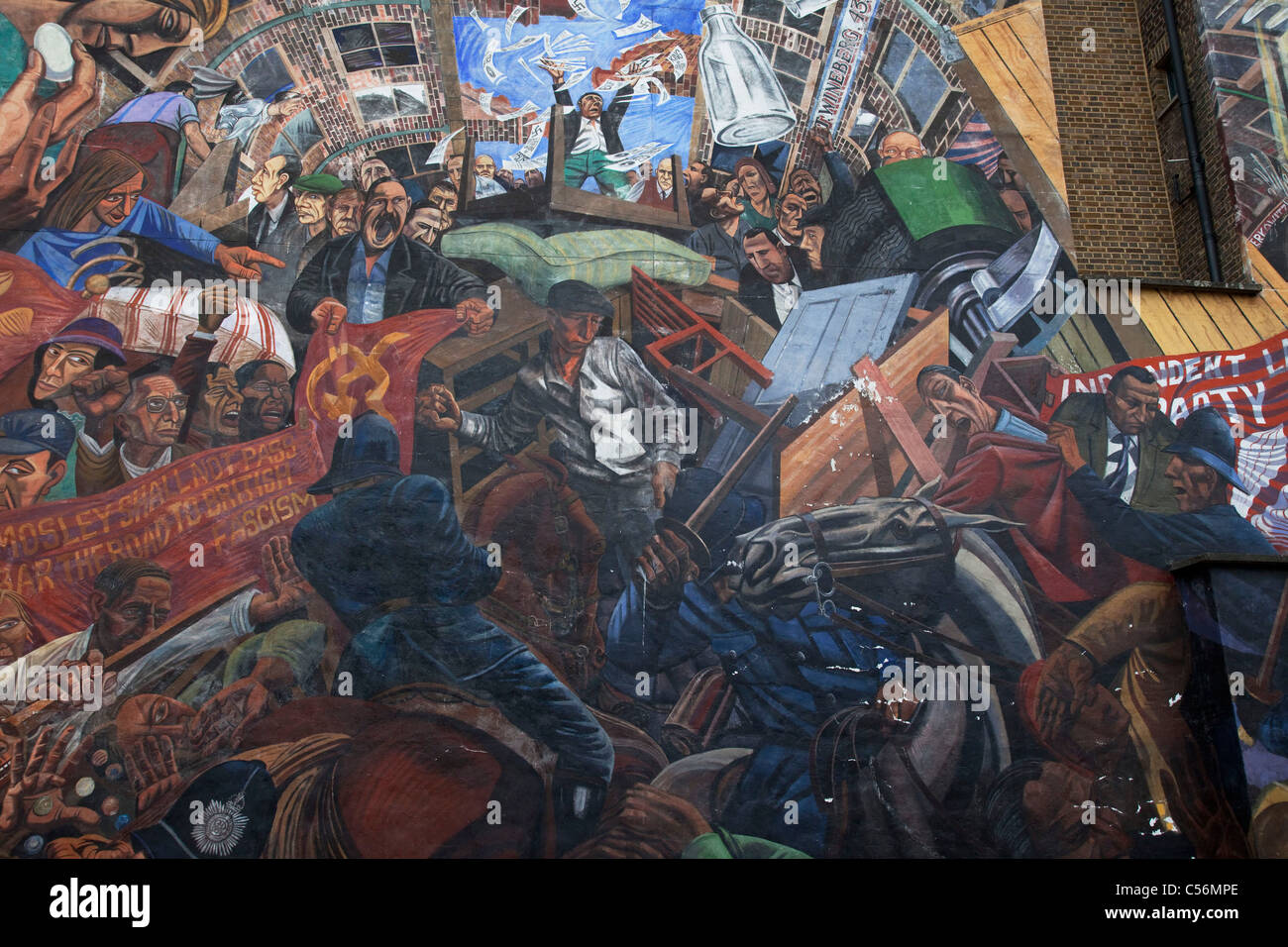 Mural to The Battle of Cable Street on Cable Street in East London. - Stock Image