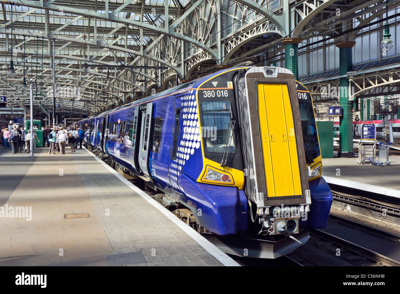 New Scotrail Class 380 EMU in Glasgow Central Station - Stock Image