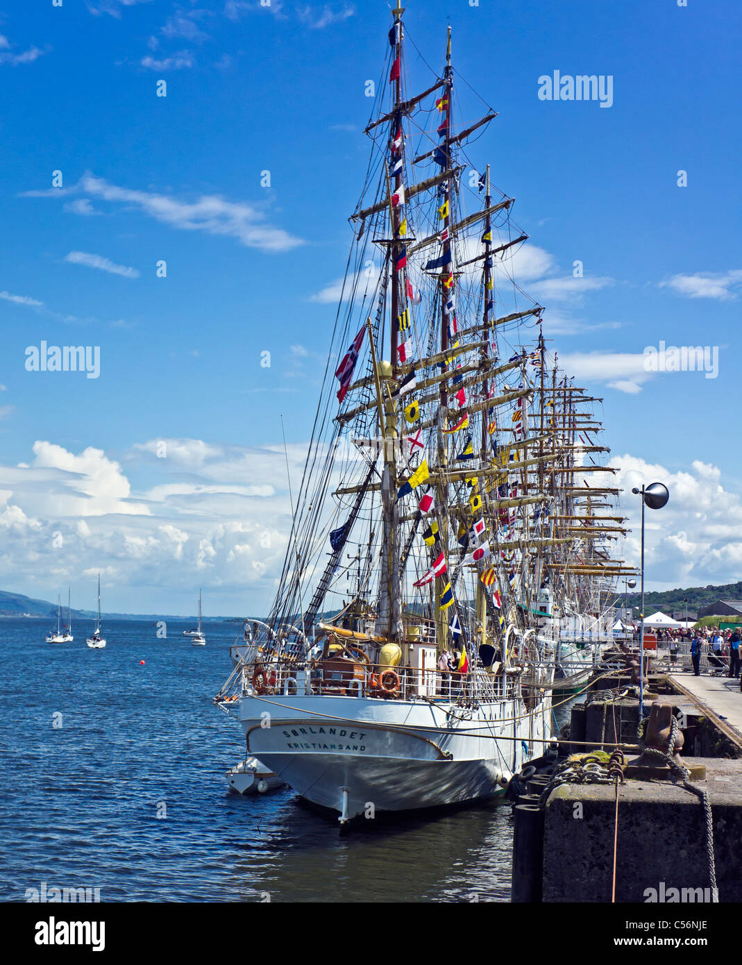 Norwegian Sailing ship Soerlandet participating in the Tall Ships Races 2011 moored in Greenock Great harbour Scotland - Stock Image