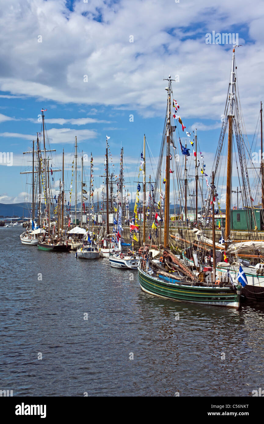 Sailing ships participating in the Tall Ships Races 2011 moored in James Watt Dock Greenock harbour Scotland - Stock Image