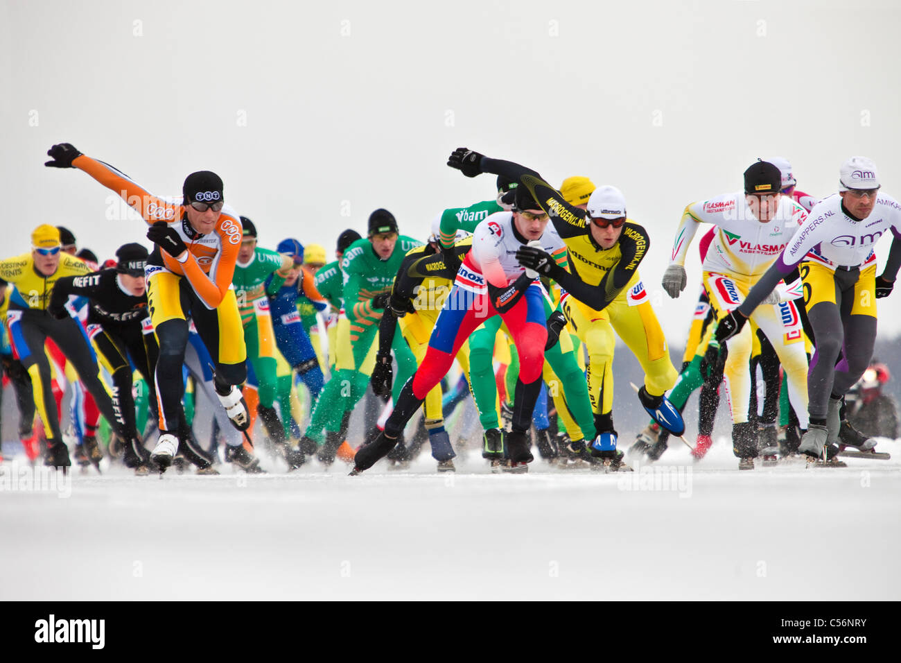 The Netherlands, Loosdrecht, 100km ice skating match on natural ice. - Stock Image