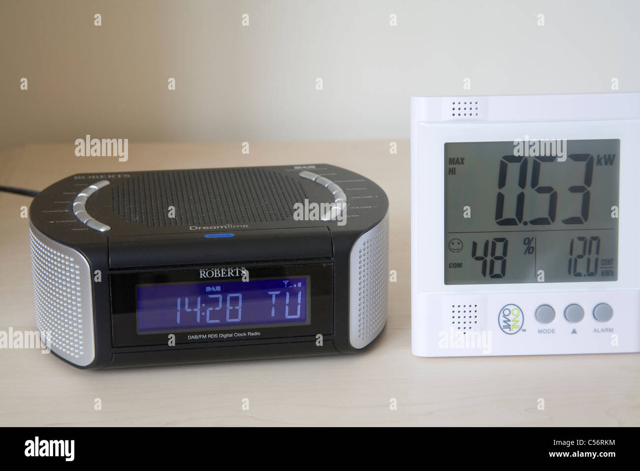 Close up Owl electricity power monitor by a DAB digital radio alarm clock - Stock Image