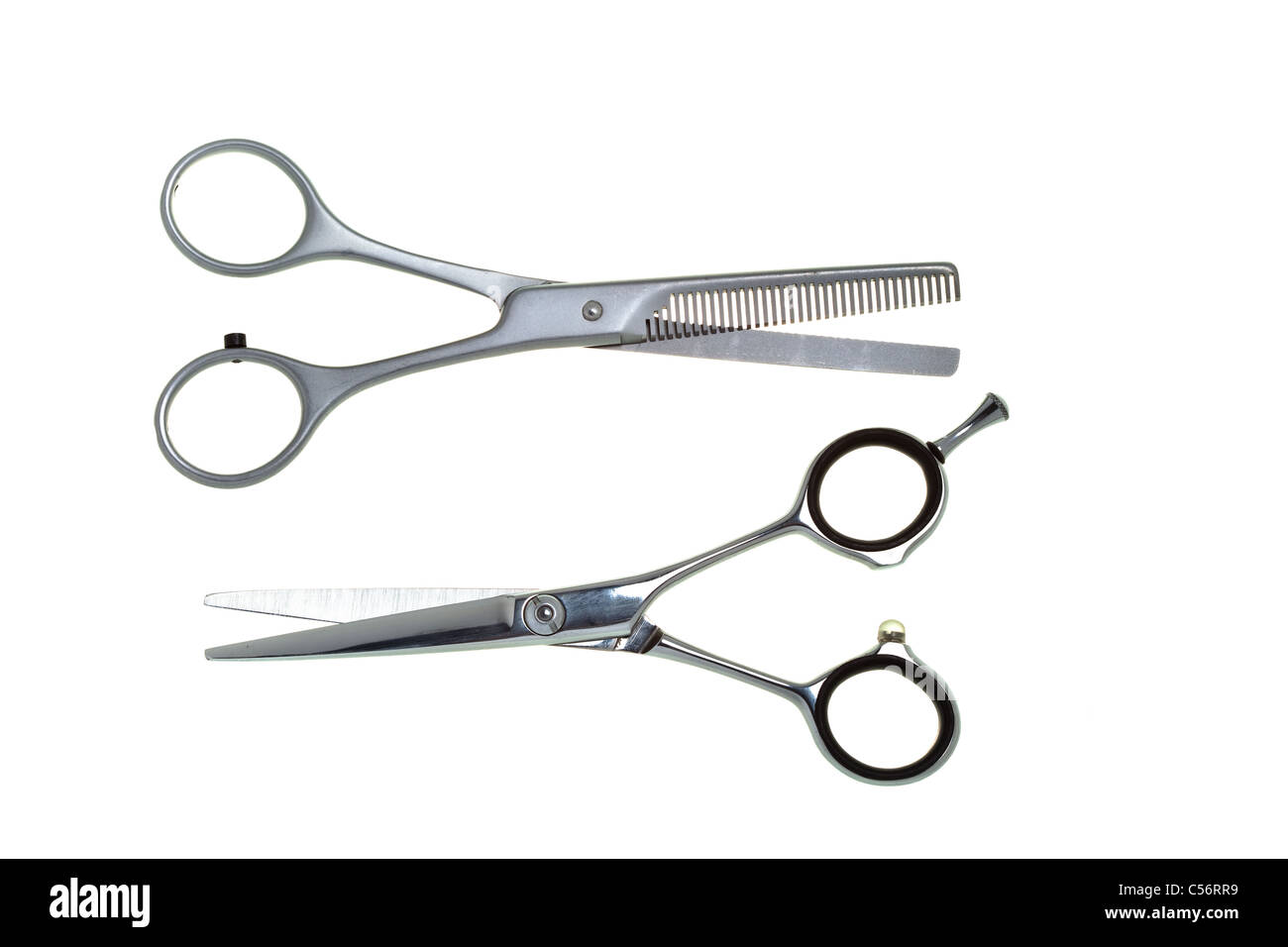 Special scissors for work of hairdresser, for hairstyle and for giving hairdress of final form, gear - Stock Image