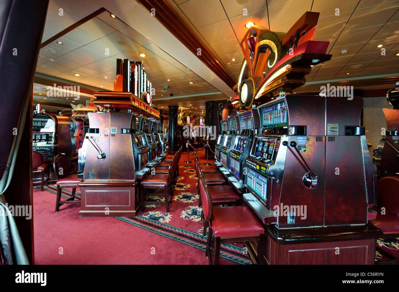 Slot Machines For Passenger Usage In The Empire Casino On Deck 2