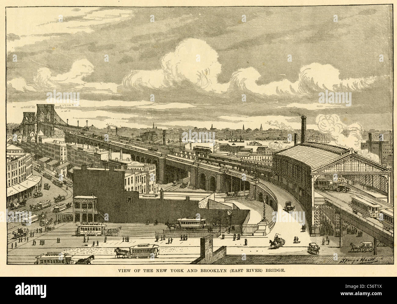 "Circa 1885 engraving, ""View of the New York and Brooklyn Bridge"" over the  East River."