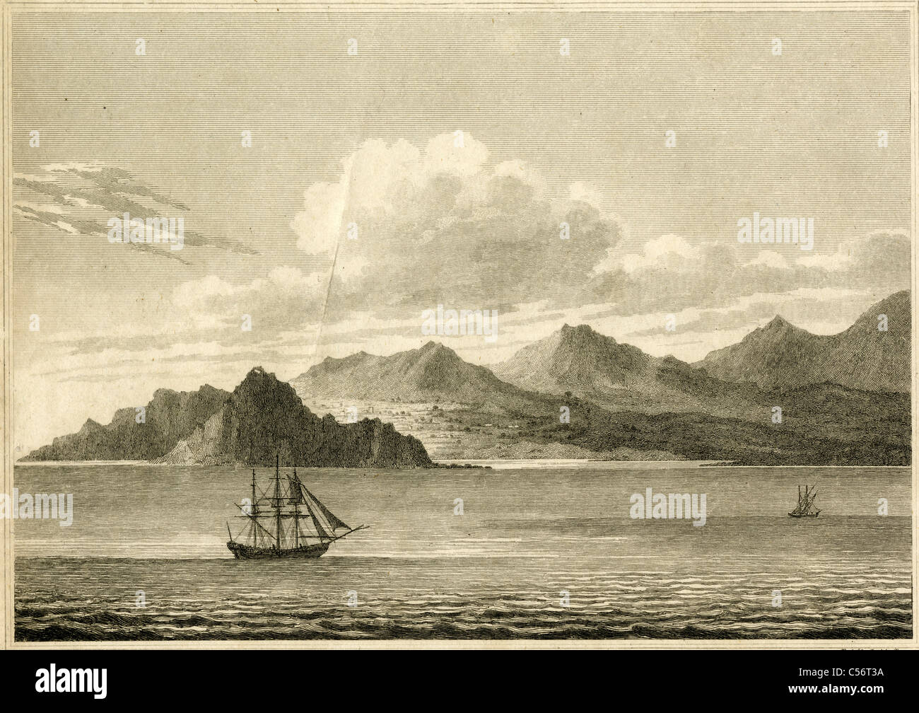 1812 engraving, 'Triopian Promontory and Ruins of Cnidus.' - Stock Image
