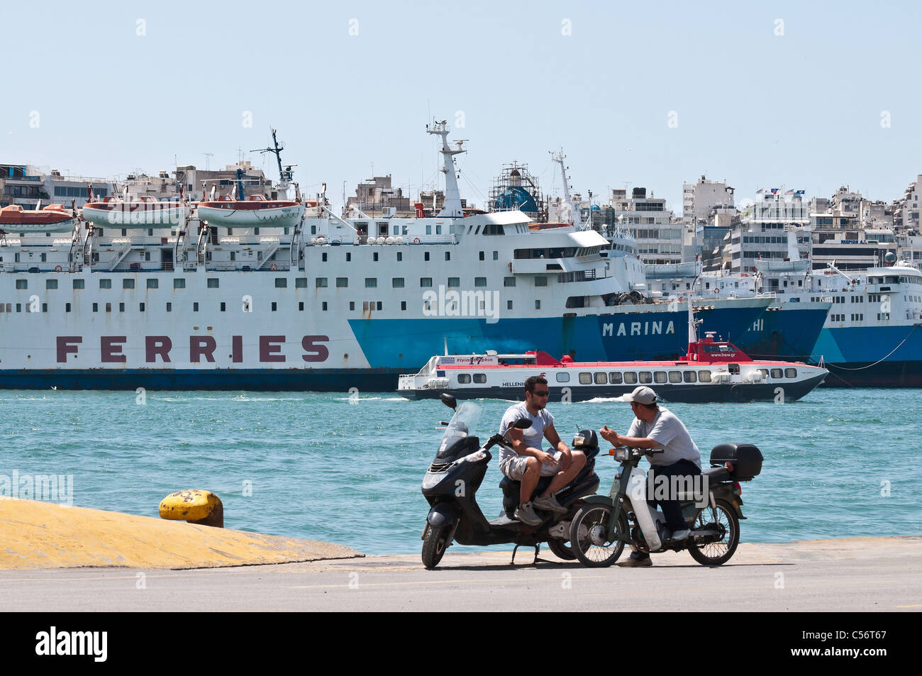 Ferries in the harbour at Pireaus, Athens, Greece. - Stock Image