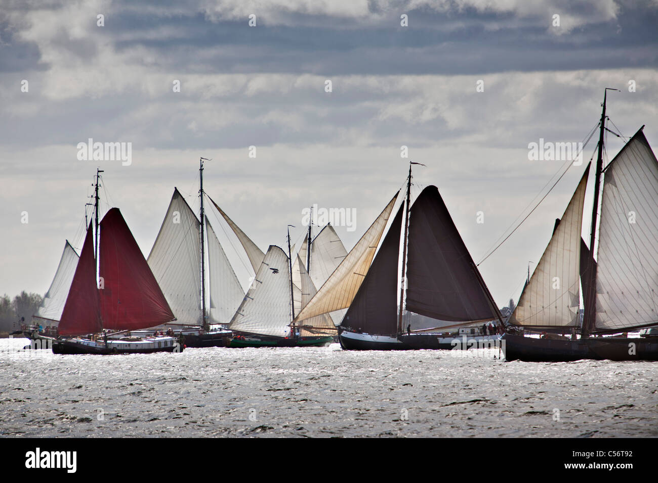 The Netherlands, Volendam. Yearly race of traditional sailing ships called Pieperrace on lake called Markermeer. - Stock Image