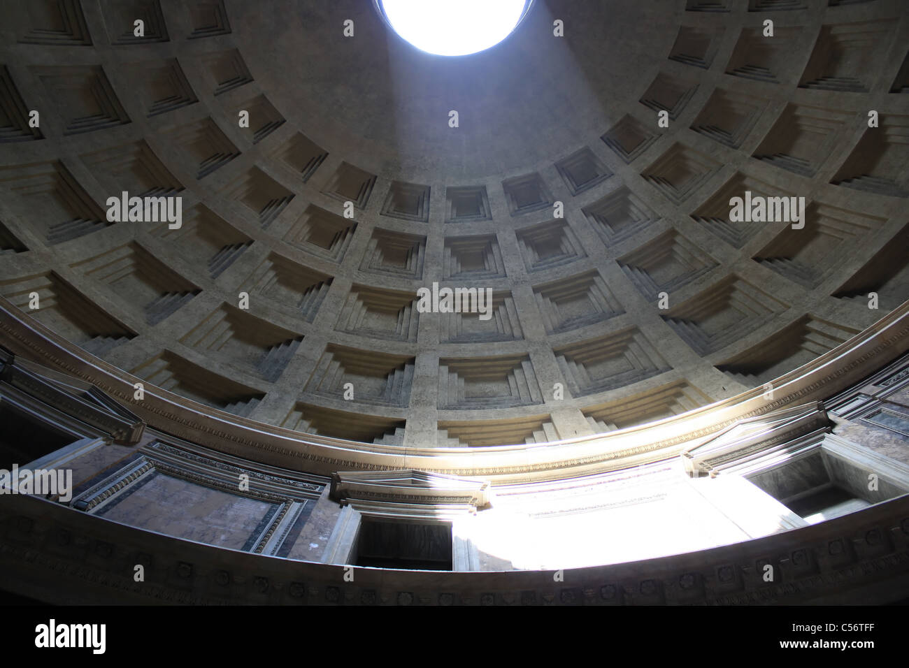 The Pantheon in Rome from, A beam of light falls through the hole in the hemispherical roof - Stock Image