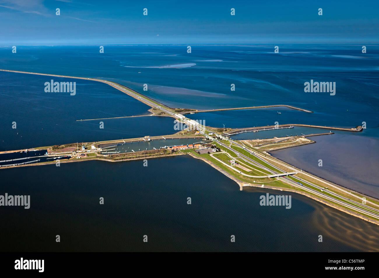 The Netherlands, Den Oever, Aerial of IJsselmeer Dam also called Afsluitdijk. Locks. - Stock Image