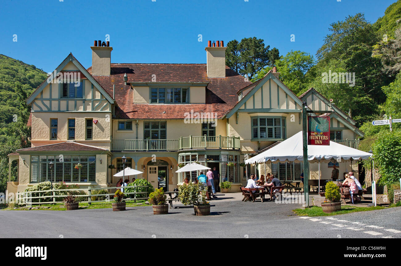 The Hunter's Inn at Heddon's Mouth Exmoor Devon on a hot summer day - Stock Image