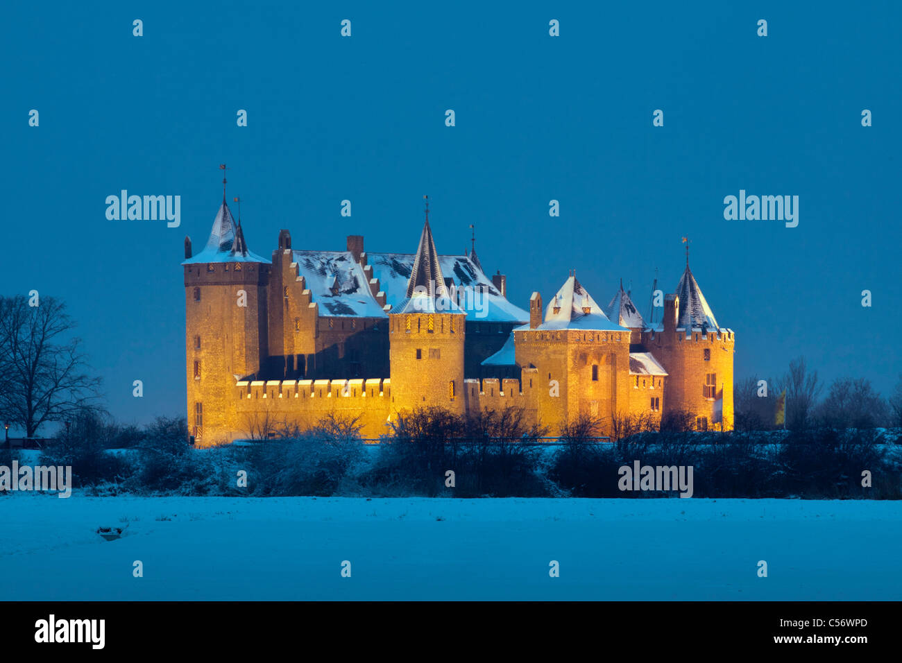 The Netherlands, Muiden, Castle called Muiderslot. Winter, snow. - Stock Image