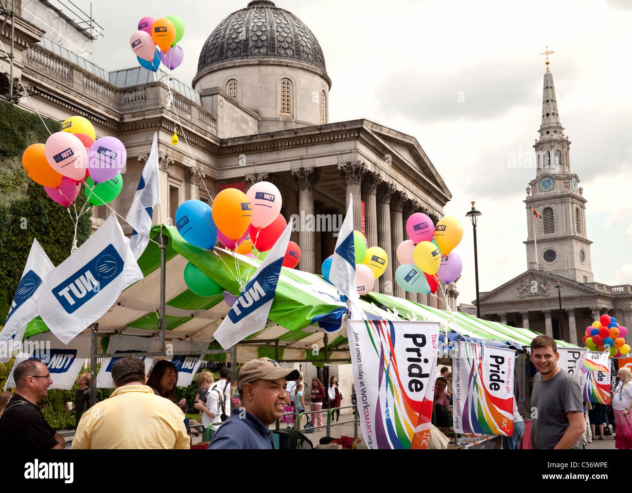 National Union of Teachers (NUT) stall and balloons at the Gay Pride march, Trafalgar Square, London UK 2011 - Stock Image
